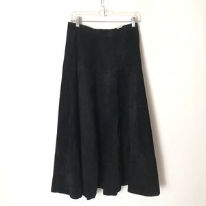 VTG Pia Rucci Suede Leather Skirt A Line Flare
